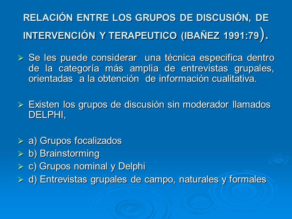 GRUPOS FOCALES Se reconoce su aplicación en el grupo de mercado, en la elaboración de cuestionarios sociales o en la evaluación de programas y en la relación con los grupos terapéuticos empleados por los psiquiatras.