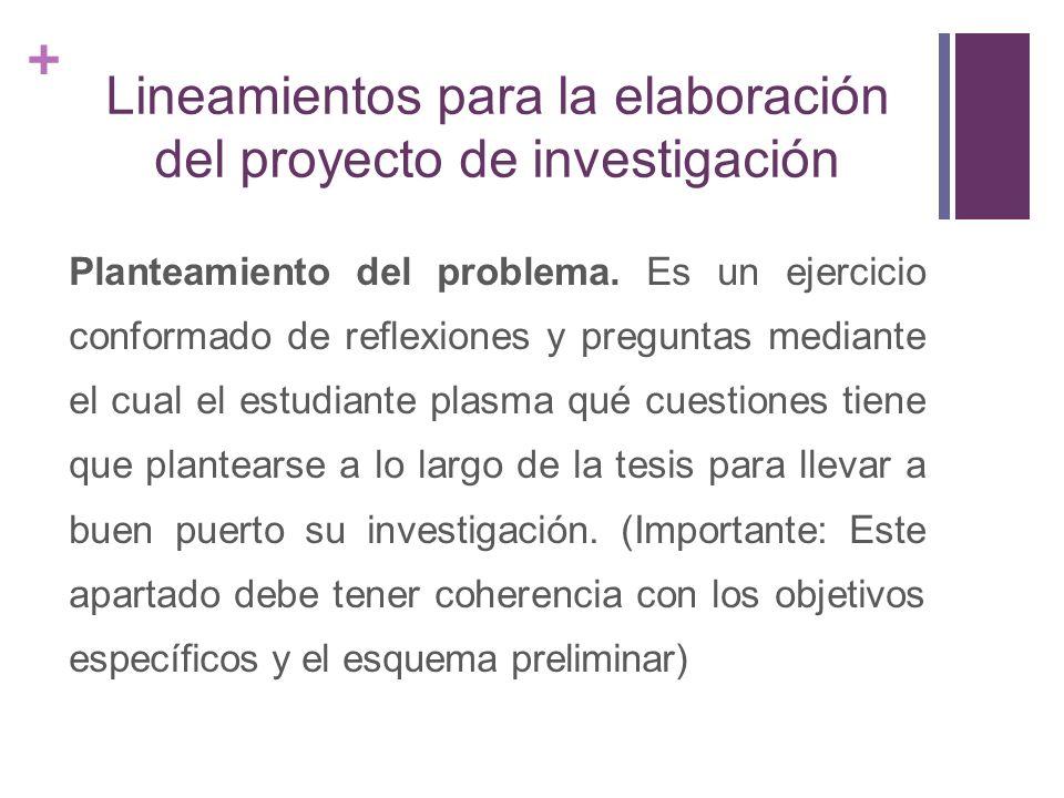 + Lineamientos para la elaboración del proyecto de investigación Hipótesis Es la respuesta tentativa al problema de la investigación.