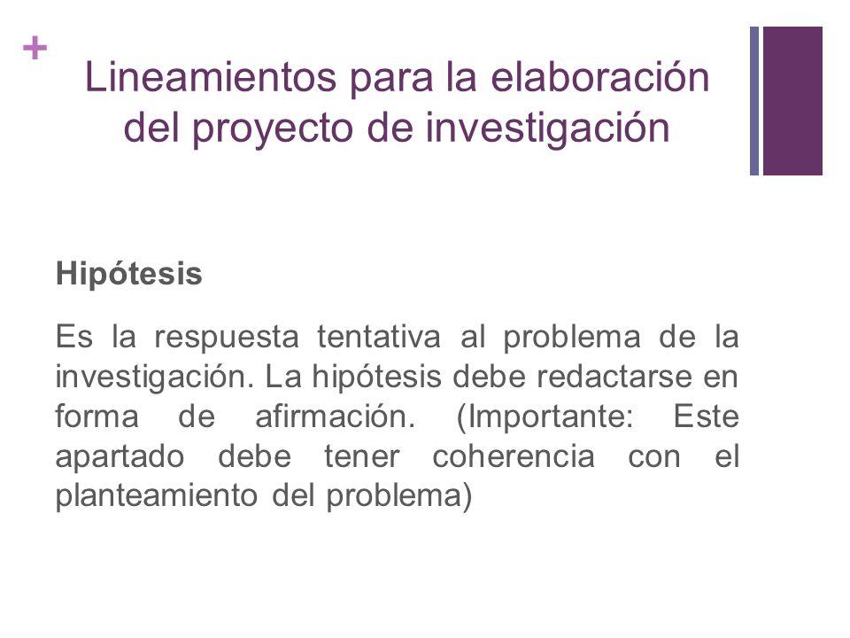 + Lineamientos para la elaboración del proyecto de investigación Hipótesis Es la respuesta tentativa al problema de la investigación. La hipótesis deb