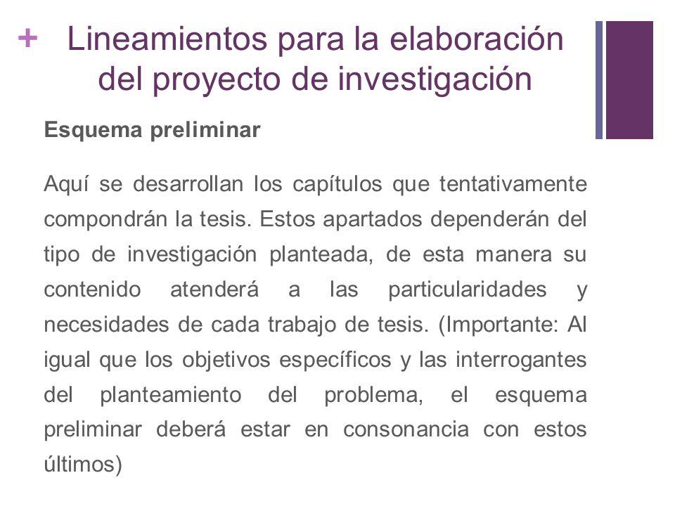 + Marco Teórico La discusión de los referentes teóricos que guían la investigación.
