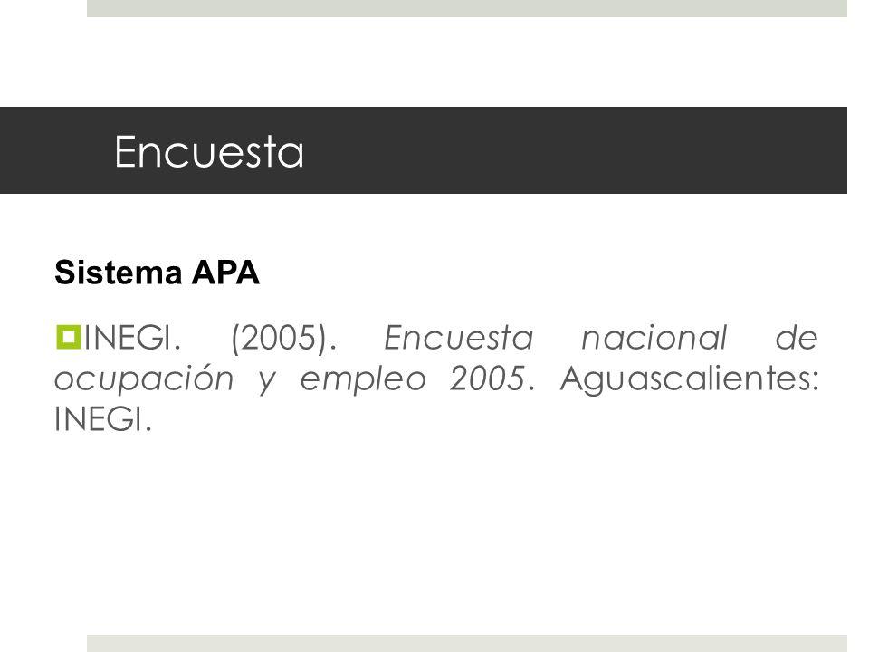 Encuesta Sistema APA INEGI. (2005). Encuesta nacional de ocupación y empleo 2005. Aguascalientes: INEGI.
