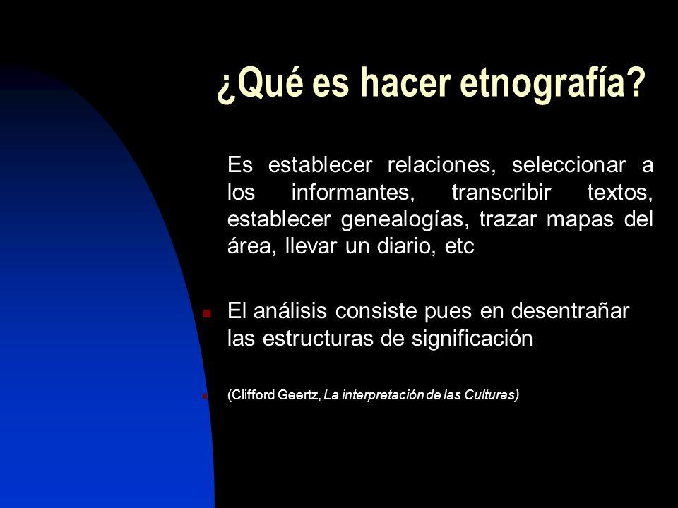 ¿Qué es hacer etnografía.