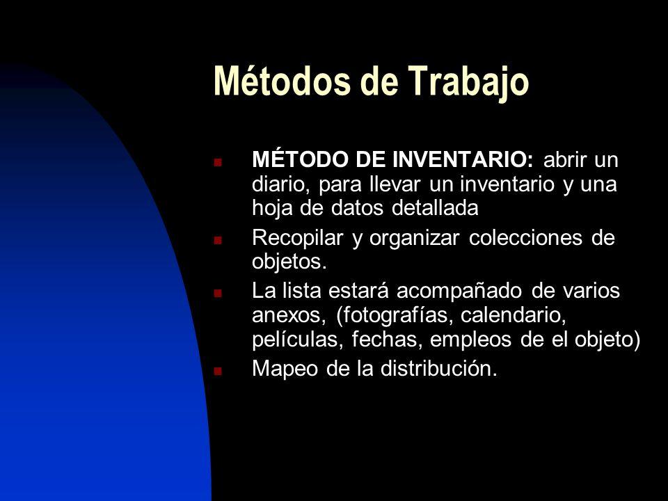 Métodos de Trabajo MÉTODO DE INVENTARIO: abrir un diario, para llevar un inventario y una hoja de datos detallada Recopilar y organizar colecciones de objetos.