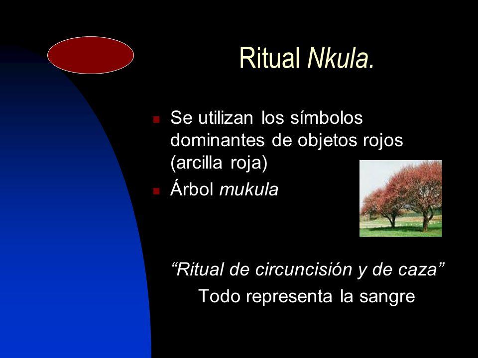 Ritual N kula. Se utilizan los símbolos dominantes de objetos rojos (arcilla roja) Árbol mukula Ritual de circuncisión y de caza Todo representa la sa