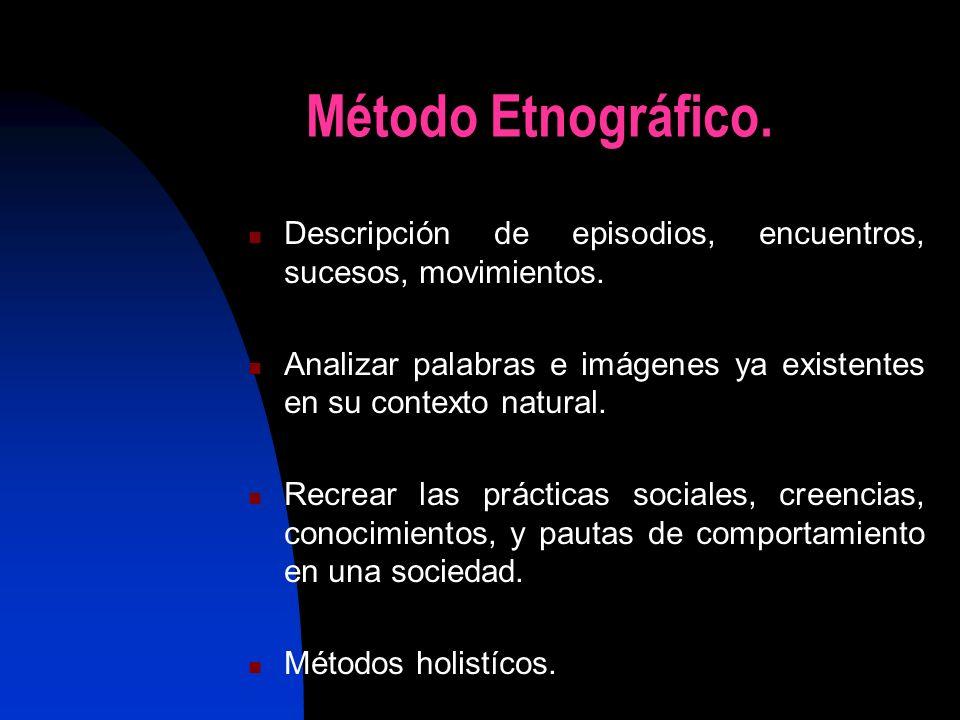 Método Etnográfico.Descripción de episodios, encuentros, sucesos, movimientos.