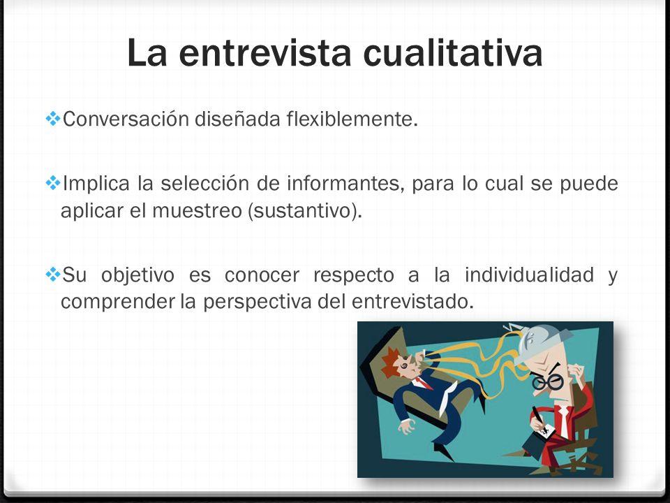 La entrevista cualitativa Conversación diseñada flexiblemente. Implica la selección de informantes, para lo cual se puede aplicar el muestreo (sustant
