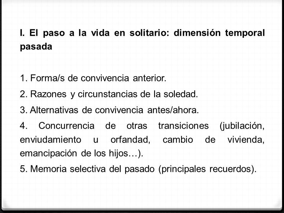 I. El paso a la vida en solitario: dimensión temporal pasada 1. Forma/s de convivencia anterior. 2. Razones y circunstancias de la soledad. 3. Alterna