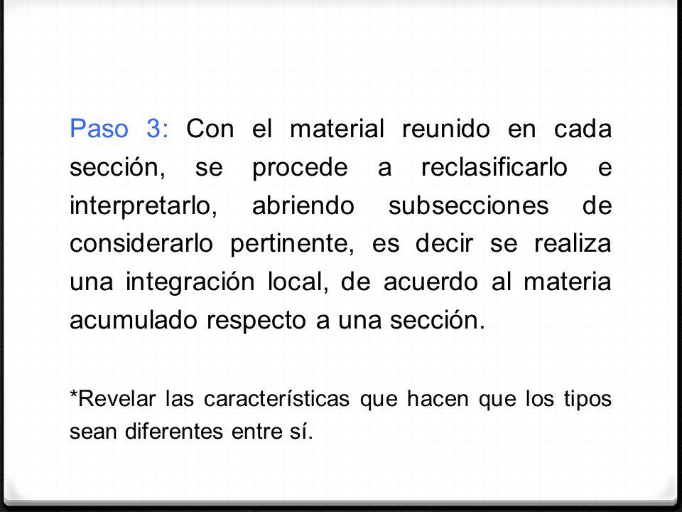 Paso 3: Con el material reunido en cada sección, se procede a reclasificarlo e interpretarlo, abriendo subsecciones de considerarlo pertinente, es dec