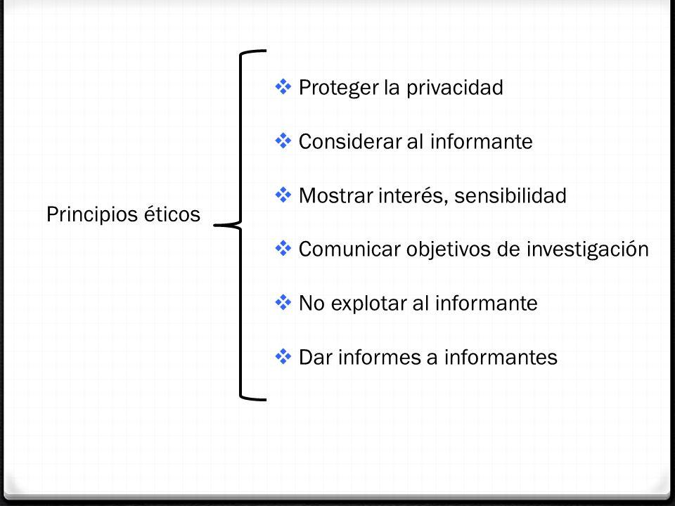 Principios éticos Proteger la privacidad Considerar al informante Mostrar interés, sensibilidad Comunicar objetivos de investigación No explotar al in