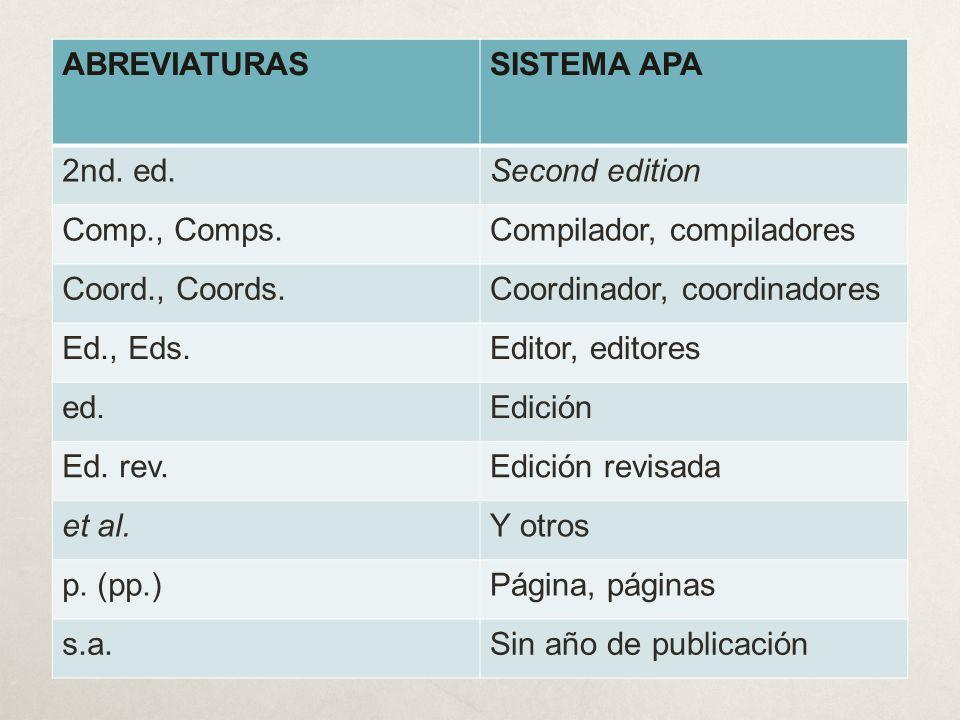 ABREVIATURASSISTEMA APA 2nd. ed.Second edition Comp., Comps.Compilador, compiladores Coord., Coords.Coordinador, coordinadores Ed., Eds.Editor, editor