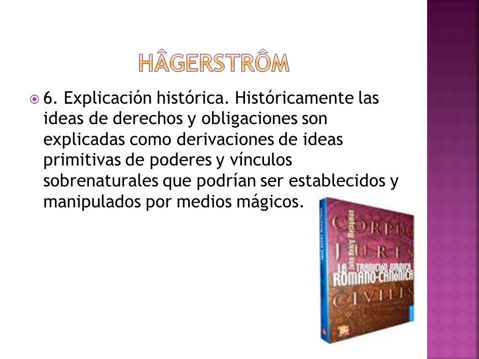 6. Explicación histórica. Históricamente las ideas de derechos y obligaciones son explicadas como derivaciones de ideas primitivas de poderes y víncul