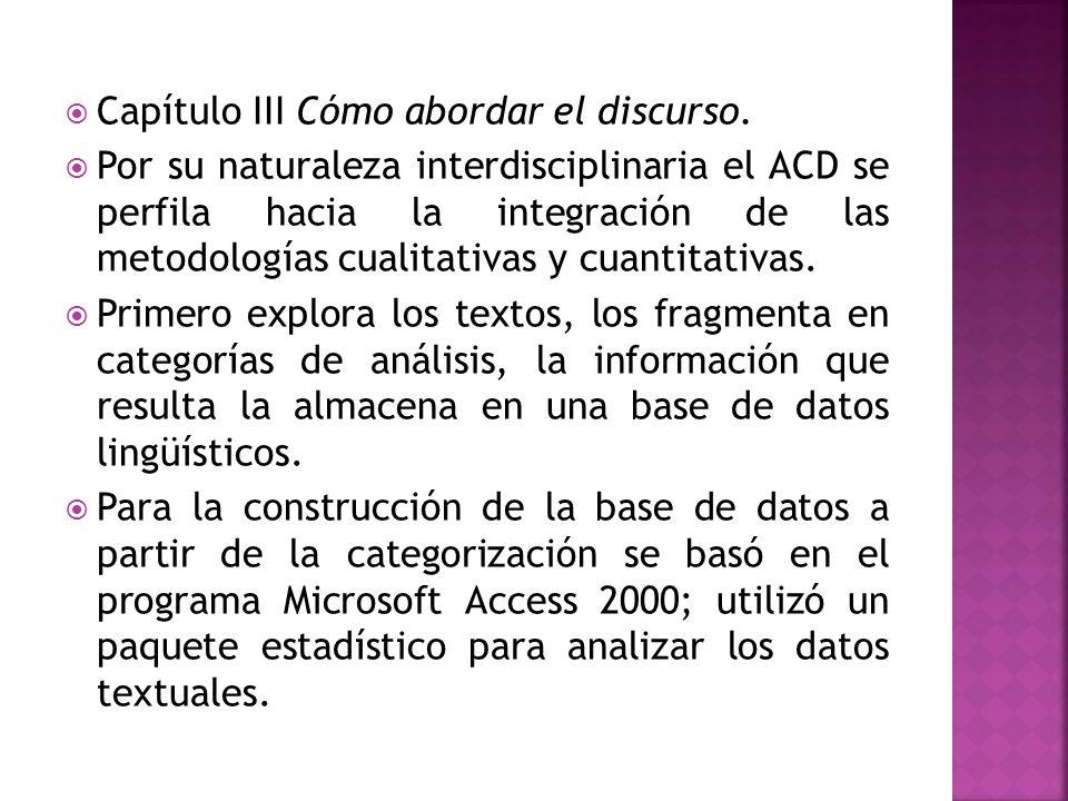 Capítulo III Cómo abordar el discurso. Por su naturaleza interdisciplinaria el ACD se perfila hacia la integración de las metodologías cualitativas y