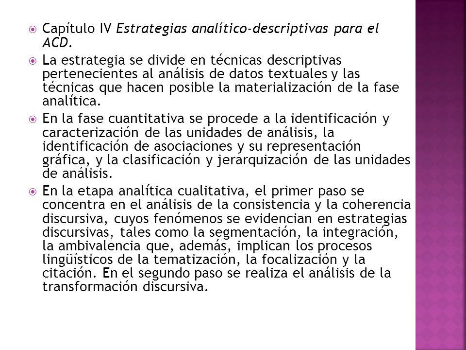 Capítulo IV Estrategias analítico-descriptivas para el ACD. La estrategia se divide en técnicas descriptivas pertenecientes al análisis de datos textu