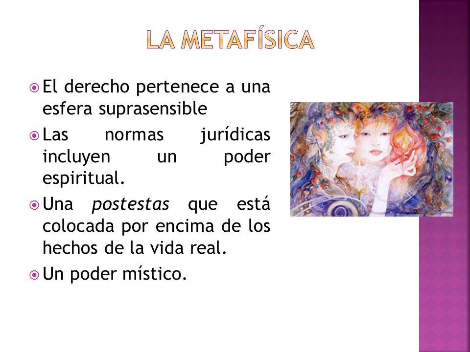 El derecho pertenece a una esfera suprasensible Las normas jurídicas incluyen un poder espiritual. Una postestas que está colocada por encima de los h