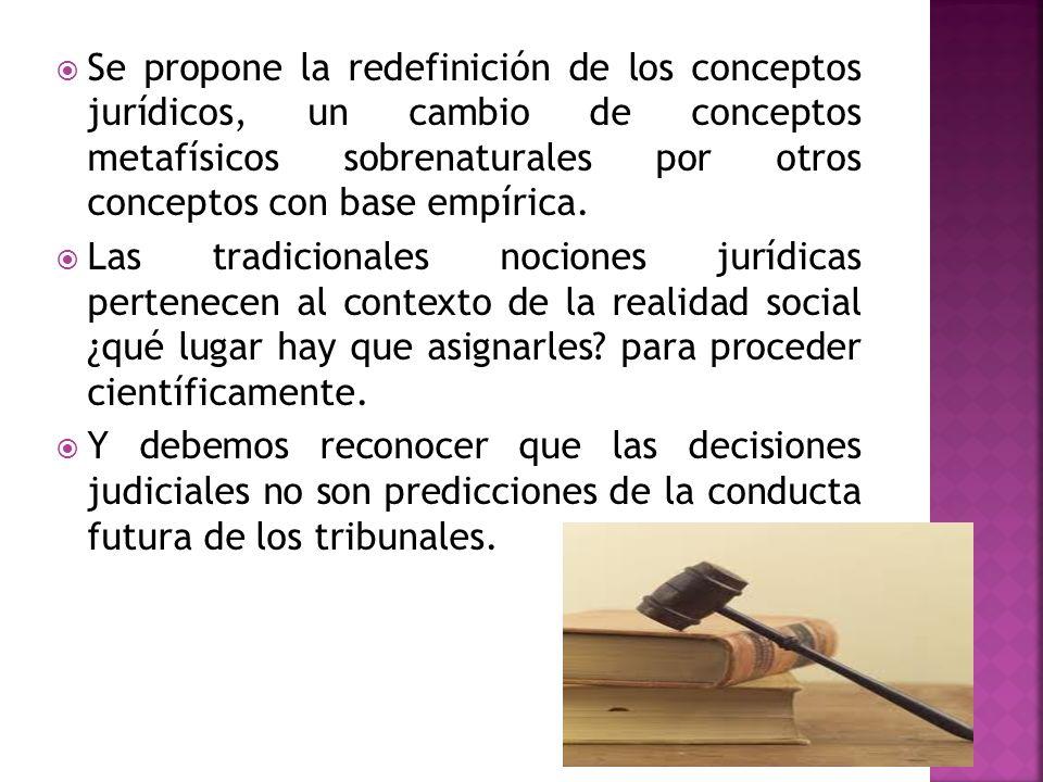 Se propone la redefinición de los conceptos jurídicos, un cambio de conceptos metafísicos sobrenaturales por otros conceptos con base empírica. Las tr