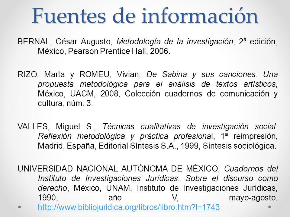 Fuentes de información BERNAL, César Augusto, Metodología de la investigación, 2ª edición, México, Pearson Prentice Hall, 2006.