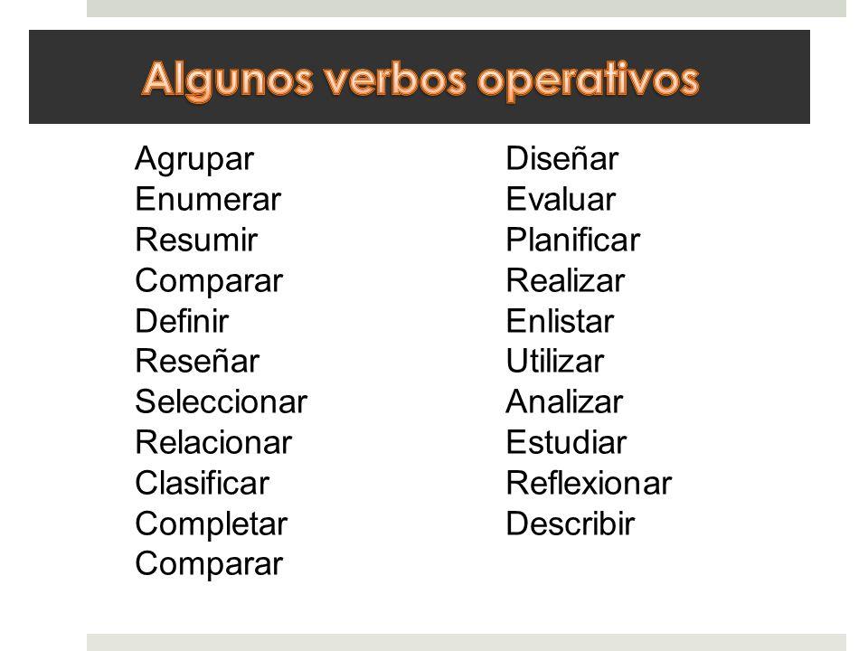 Agrupar Enumerar Resumir Comparar Definir Reseñar Seleccionar Relacionar Clasificar Completar Comparar Diseñar Evaluar Planificar Realizar Enlistar Ut