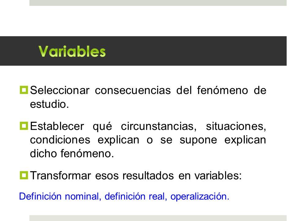 Seleccionar consecuencias del fenómeno de estudio. Establecer qué circunstancias, situaciones, condiciones explican o se supone explican dicho fenómen