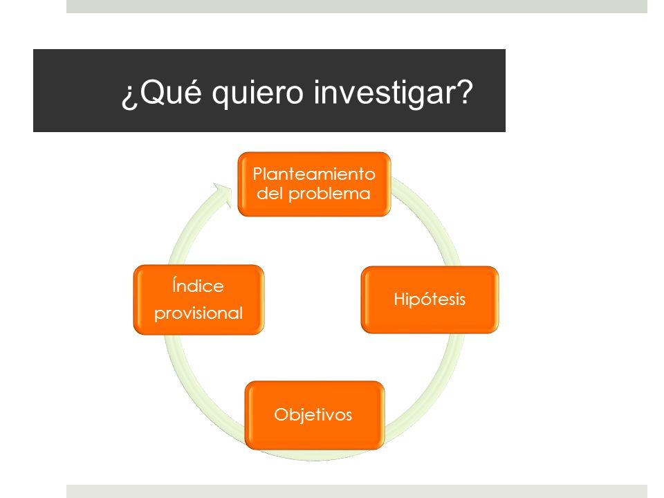 ¿Qué quiero investigar? Planteamiento del problema Hipótesis Objetivos Índice provisional