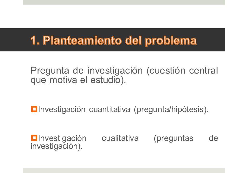 Pregunta de investigación (cuestión central que motiva el estudio). Investigación cuantitativa (pregunta/hipótesis). Investigación cualitativa (pregun
