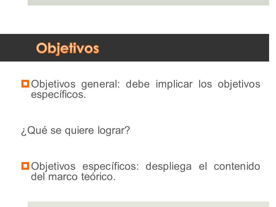 Objetivos general: debe implicar los objetivos específicos. ¿Qué se quiere lograr? Objetivos específicos: despliega el contenido del marco teórico.