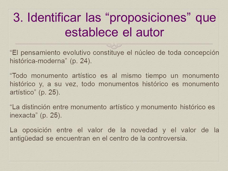 3. Identificar las proposiciones que establece el autor El pensamiento evolutivo constituye el núcleo de toda concepción histórica-moderna (p. 24). To