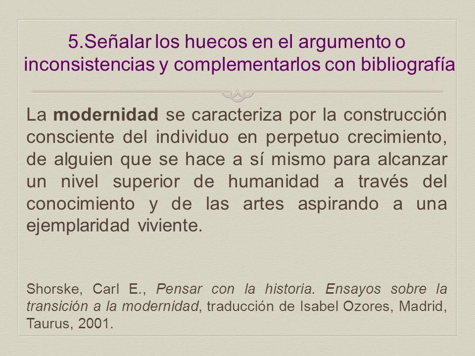5.Señalar los huecos en el argumento o inconsistencias y complementarlos con bibliografía La modernidad se caracteriza por la construcción consciente