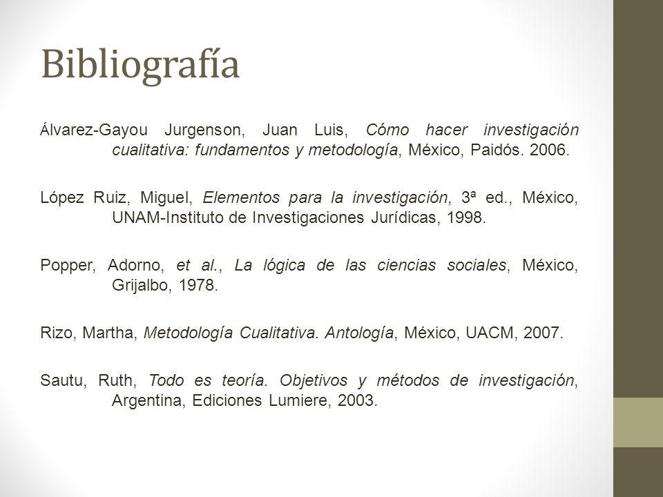 Bibliografía Á lvarez-Gayou Jurgenson, Juan Luis, Cómo hacer investigación cualitativa: fundamentos y metodología, México, Paidós. 2006. López Ruiz, M