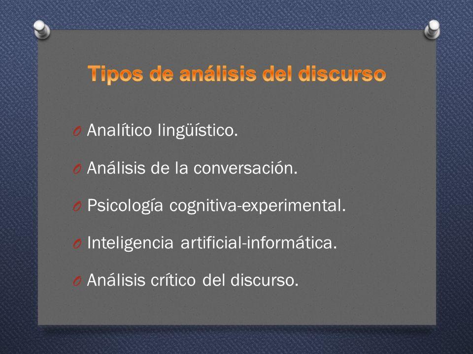 O Analítico lingüístico.O Análisis de la conversación.