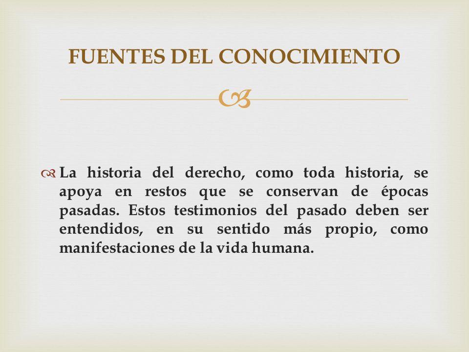 La historia del derecho, como toda historia, se apoya en restos que se conservan de épocas pasadas. Estos testimonios del pasado deben ser entendidos,