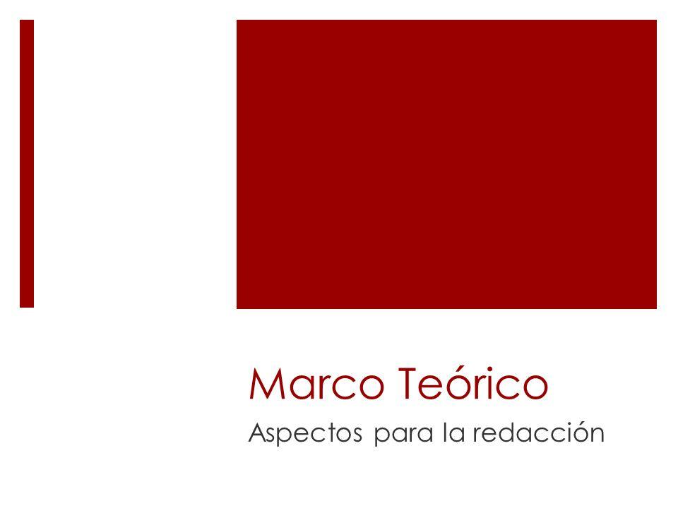 Marco Teórico Aspectos para la redacción