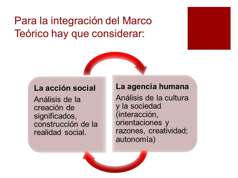 La acción social Análisis de la creación de significados, construcción de la realidad social. La agencia humana Análisis de la cultura y la sociedad (
