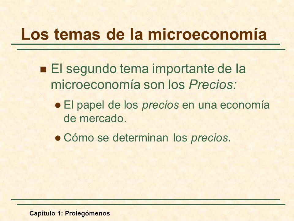 Capítulo 1: Prolegómenos El segundo tema importante de la microeconomía son los Precios: El papel de los precios en una economía de mercado. Cómo se d
