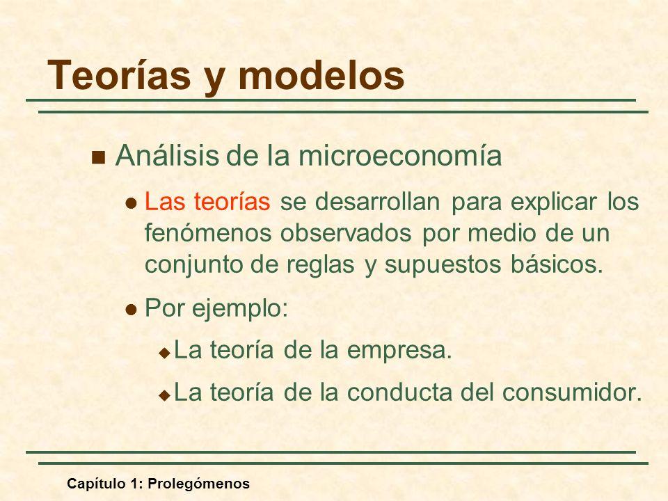 Capítulo 1: Prolegómenos Teorías y modelos Análisis de la microeconomía Las teorías se desarrollan para explicar los fenómenos observados por medio de un conjunto de reglas y supuestos básicos.