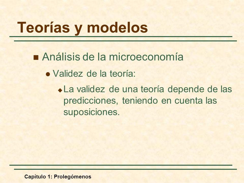 Capítulo 1: Prolegómenos Análisis de la microeconomía Validez de la teoría: La validez de una teoría depende de las predicciones, teniendo en cuenta las suposiciones.
