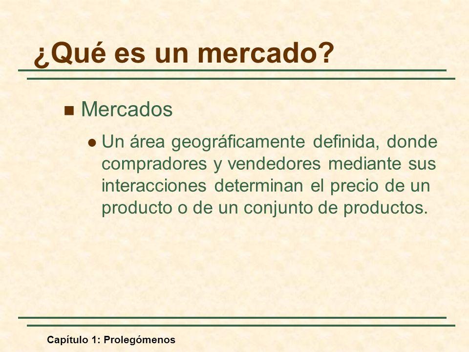 Capítulo 1: Prolegómenos ¿Qué es un mercado? Mercados Un área geográficamente definida, donde compradores y vendedores mediante sus interacciones dete