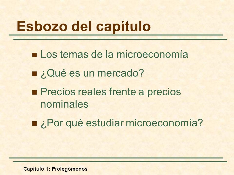 Capítulo 1: Prolegómenos Esbozo del capítulo Los temas de la microeconomía ¿Qué es un mercado? Precios reales frente a precios nominales ¿Por qué estu