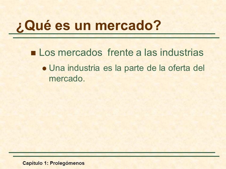 Capítulo 1: Prolegómenos Los mercados frente a las industrias Una industria es la parte de la oferta del mercado. ¿Qué es un mercado?