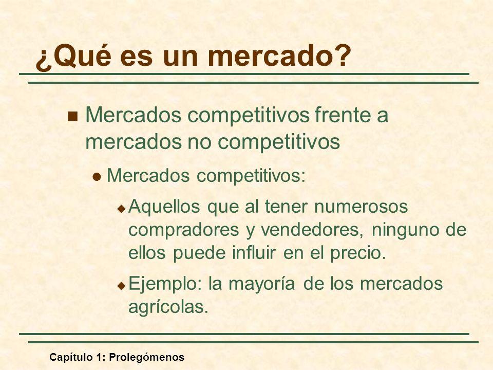 Capítulo 1: Prolegómenos Mercados competitivos frente a mercados no competitivos Mercados competitivos: Aquellos que al tener numerosos compradores y vendedores, ninguno de ellos puede influir en el precio.