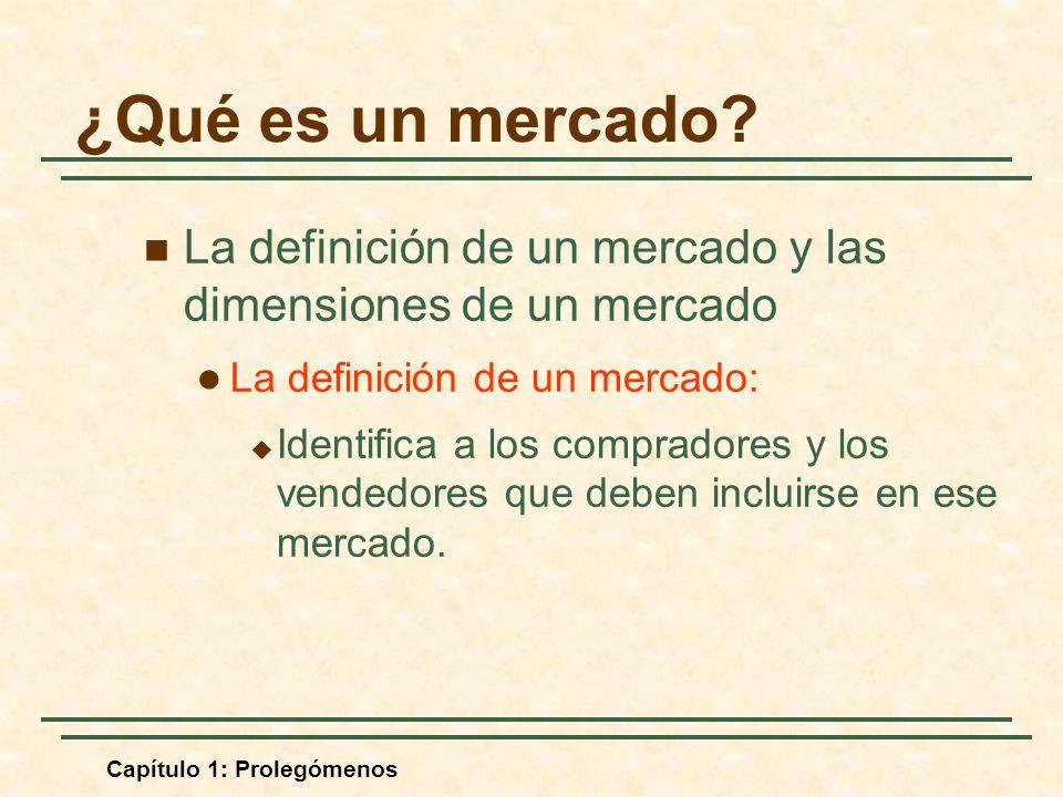 Capítulo 1: Prolegómenos La definición de un mercado y las dimensiones de un mercado La definición de un mercado: Identifica a los compradores y los vendedores que deben incluirse en ese mercado.
