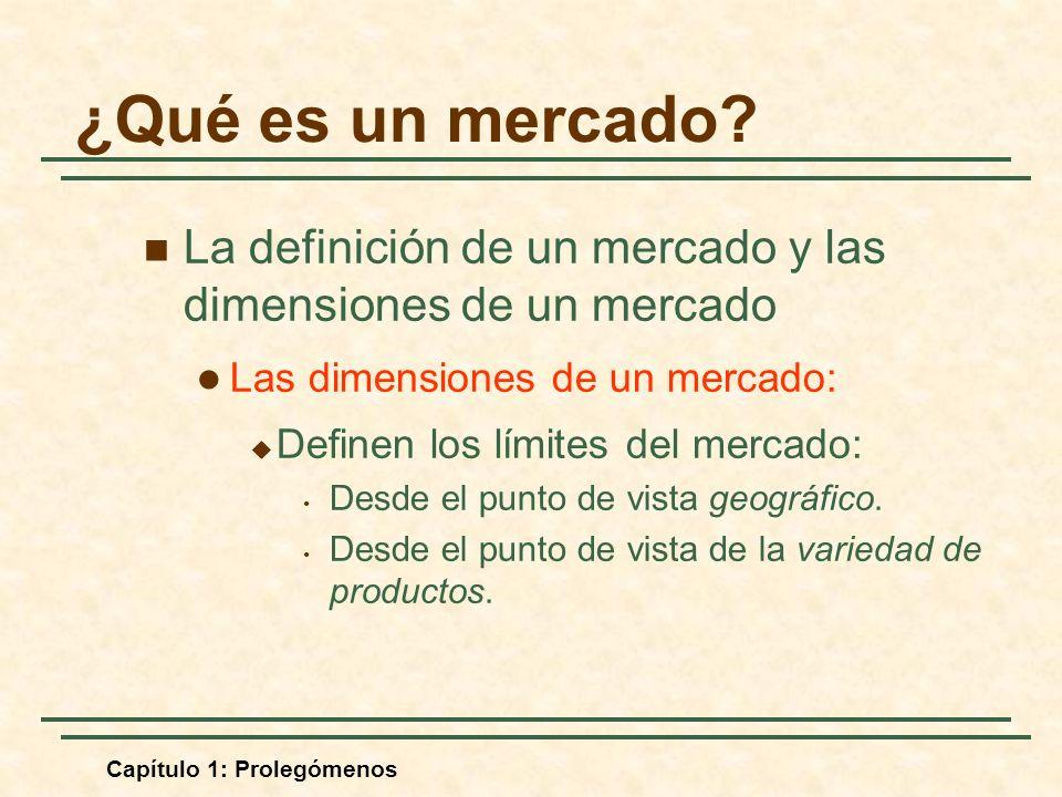 Capítulo 1: Prolegómenos La definición de un mercado y las dimensiones de un mercado Las dimensiones de un mercado: Definen los límites del mercado: Desde el punto de vista geográfico.