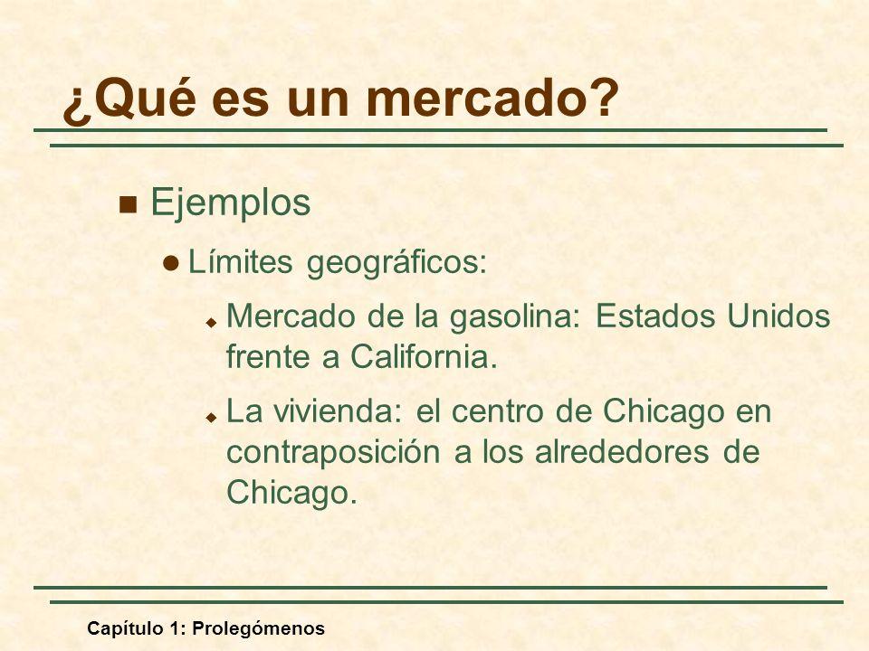 Capítulo 1: Prolegómenos Ejemplos Límites geográficos: Mercado de la gasolina: Estados Unidos frente a California. La vivienda: el centro de Chicago e