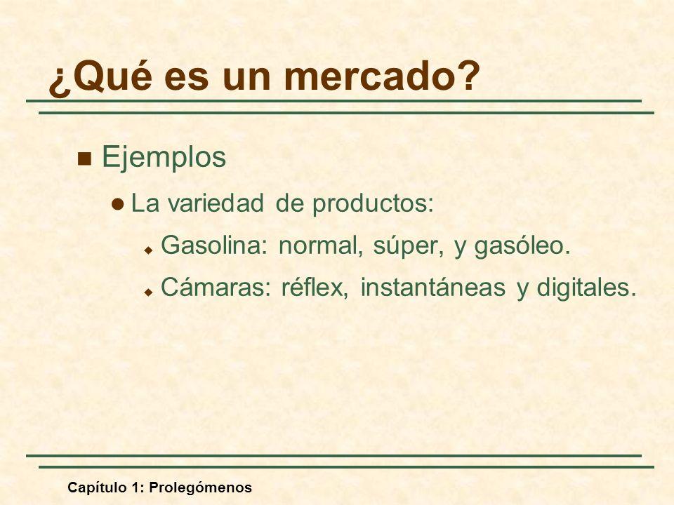 Capítulo 1: Prolegómenos Ejemplos La variedad de productos: Gasolina: normal, súper, y gasóleo. Cámaras: réflex, instantáneas y digitales. ¿Qué es un