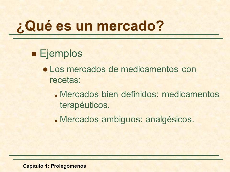 Capítulo 1: Prolegómenos Ejemplos Los mercados de medicamentos con recetas: Mercados bien definidos: medicamentos terapéuticos. Mercados ambiguos: ana