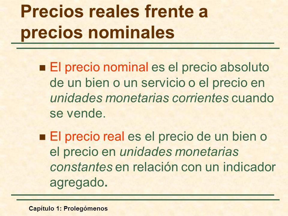 Capítulo 1: Prolegómenos Precios reales frente a precios nominales El precio nominal es el precio absoluto de un bien o un servicio o el precio en unidades monetarias corrientes cuando se vende.