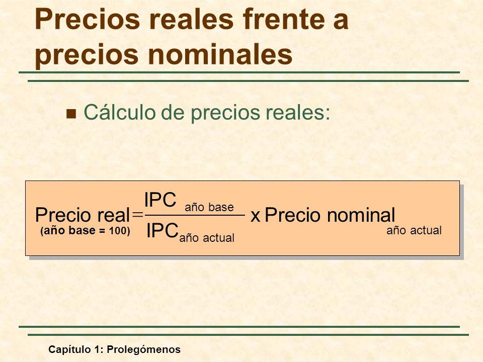 Capítulo 1: Prolegómenos Precios reales frente a precios nominales Cálculo de precios reales: año actual año base Precio nominal x IPC Precio real ( año base = 100)
