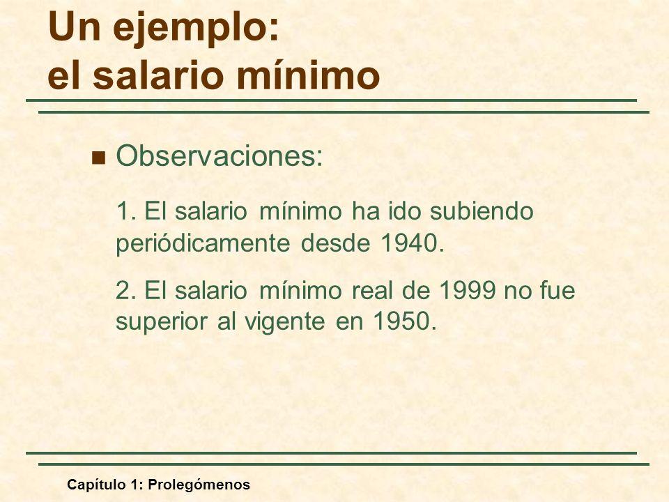 Capítulo 1: Prolegómenos Un ejemplo: el salario mínimo Observaciones: 1. El salario mínimo ha ido subiendo periódicamente desde 1940. 2. El salario mí