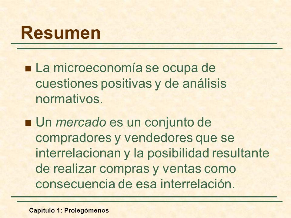 Capítulo 1: Prolegómenos Resumen La microeconomía se ocupa de cuestiones positivas y de análisis normativos. Un mercado es un conjunto de compradores