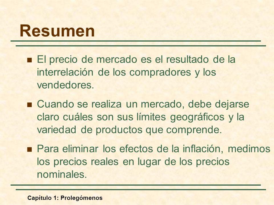 Capítulo 1: Prolegómenos Resumen El precio de mercado es el resultado de la interrelación de los compradores y los vendedores. Cuando se realiza un me