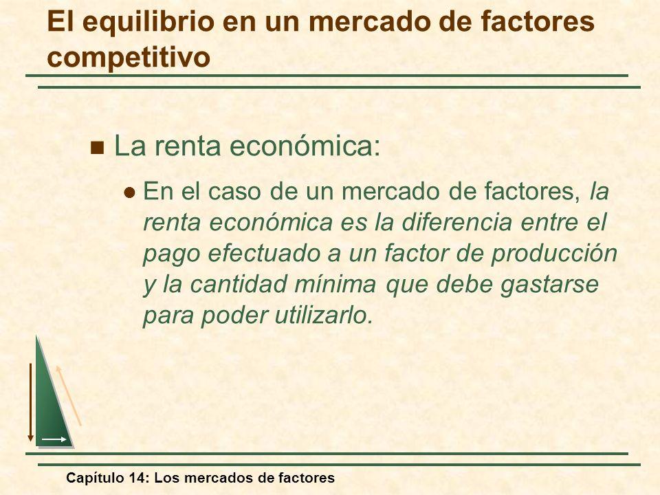 Capítulo 14: Los mercados de factores La renta económica: En el caso de un mercado de factores, la renta económica es la diferencia entre el pago efec